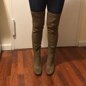 Aldo tan lace-up thigh high boots